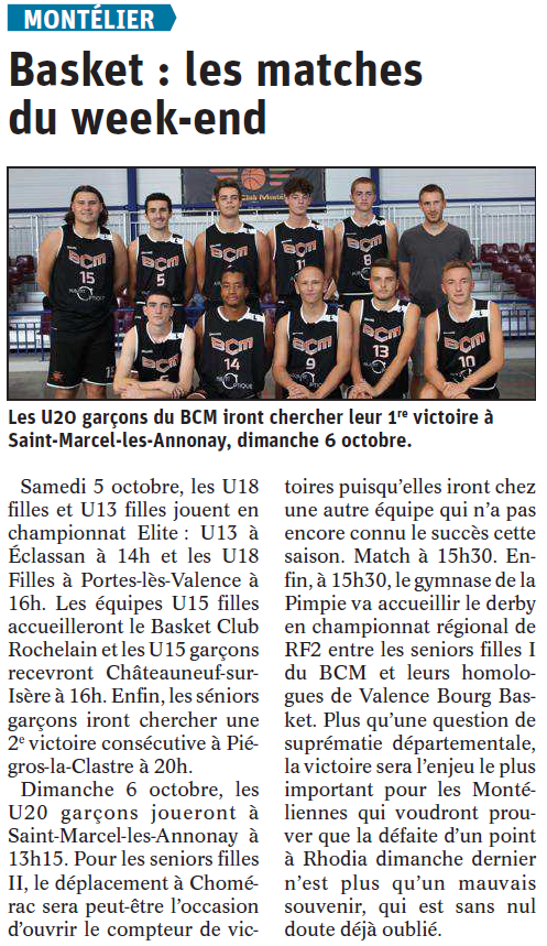 Basket : les matches du week-end